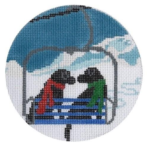 Ski Lift Love Painted Canvas CBK Needlepoint Collections