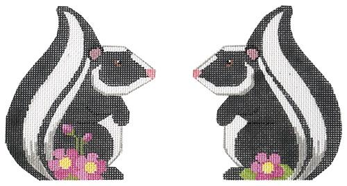 Skunk Two Sided Painted Canvas Labors of Love Needlepoint