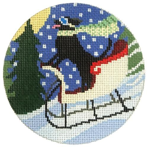 Sledding Dog Painted Canvas CBK Needlepoint Collections