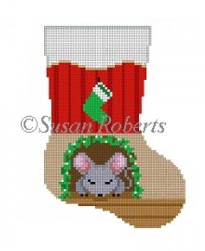 Sleeping Mouse Mini Stocking Painted Canvas Susan Roberts Needlepoint Designs Inc.