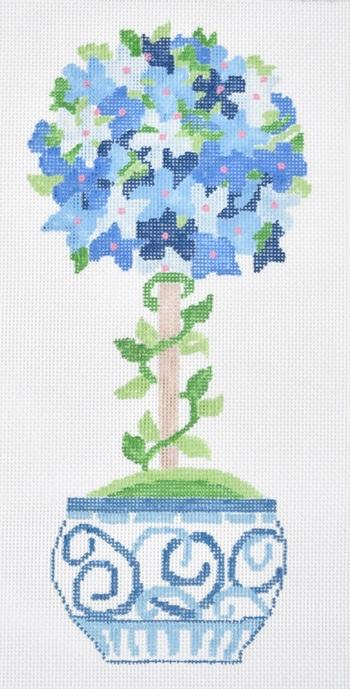 Small Blue Hydrangea Topiary Painted Canvas Jean Smith