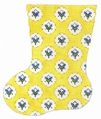 Small Flower Mini Sock - Yellow Painted Canvas Cooper Oaks Design