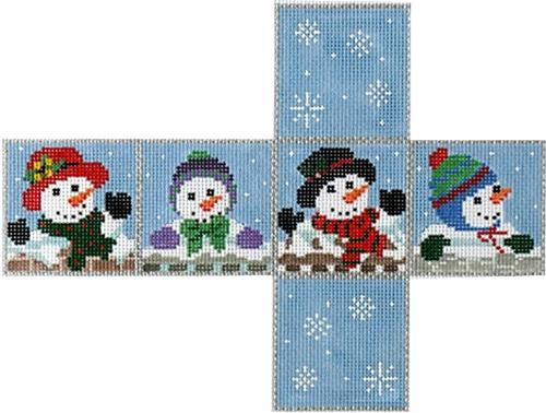 Snow Family Cube Ornament Painted Canvas Susan Roberts Needlepoint Designs, Inc.