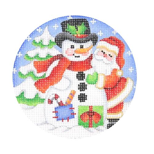 Snow Scene - Santa Building Snowman Painted Canvas Burnett & Bradley