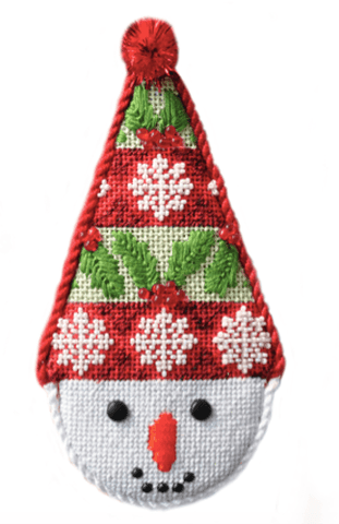 Snowcone Holly Stripe with Stitch Guide Painted Canvas Needlepoint.Com
