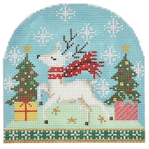 Snowdome - Reindeer with Scarf Painted Canvas Burnett & Bradley