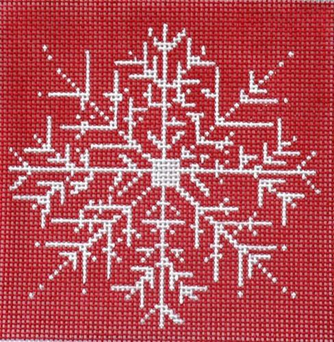 Snowflake - Red Background Painted Canvas CBK Needlepoint Collections
