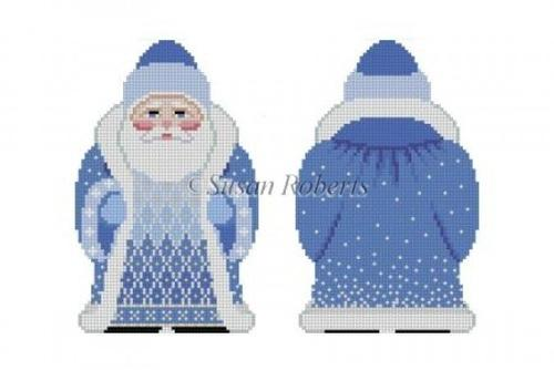Snowflake Santa, Blue Painted Canvas Susan Roberts Needlepoint Designs, Inc.