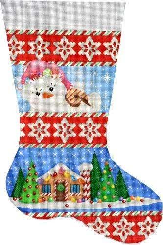 Snowlady / Gingerbread House Stocking Painted Canvas Associated Talents
