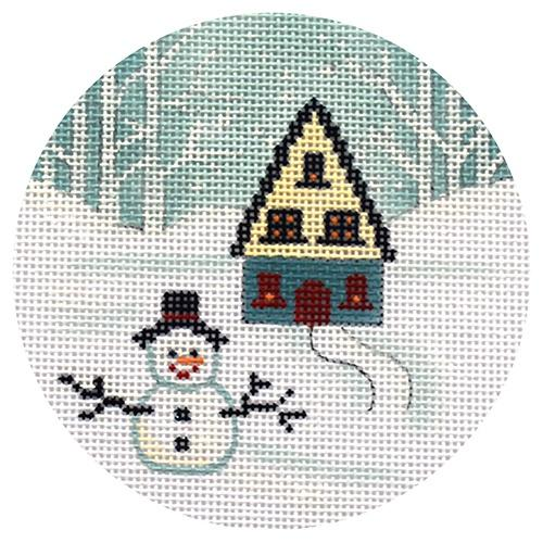 Snowman and House Ornament Painted Canvas Alice Peterson Company