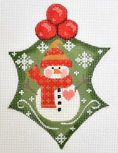 Snowman Heart Holly on 18 Painted Canvas Danji Designs