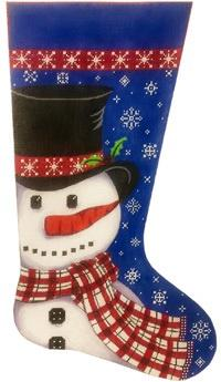Snowman in Scarf Stocking Painted Canvas Alice Peterson