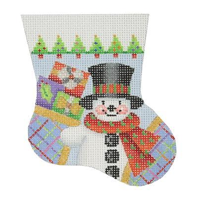 Snowman Mini Stocking Painted Canvas Burnett & Bradley