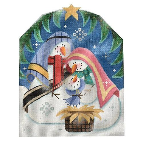 Snowman Nativity Painted Canvas Rebecca Wood Designs