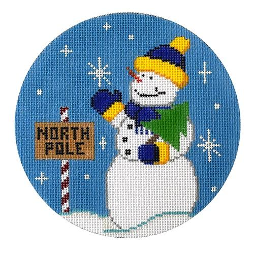 Snowman North Pole Painted Canvas The Meredith Collection