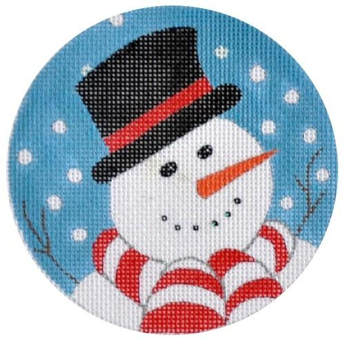 Snowman Ornament Painted Canvas Vallerie Needlepoint Gallery