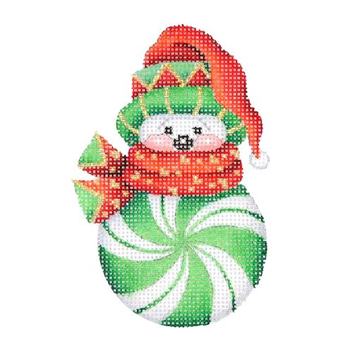 Snowman Peppermint Green with Red & Green Sock Hat Painted Canvas Burnett & Bradley