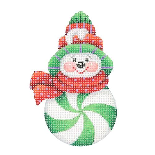 Snowman Peppermint Green with Red Pom Pom Hat Painted Canvas Burnett & Bradley