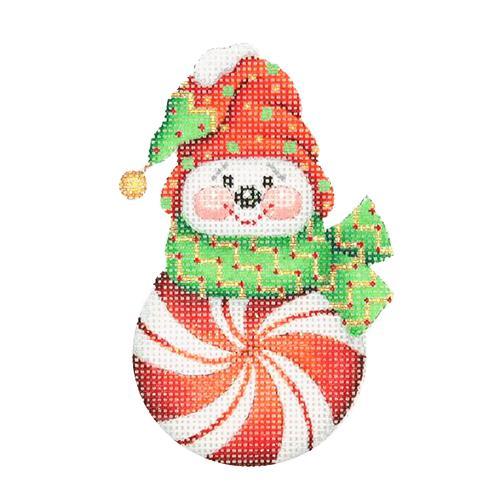 Snowman Peppermint Red with Red & Green Sock Hat Painted Canvas Burnett & Bradley
