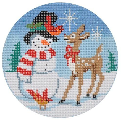 Snowman & Rudolph Painted Canvas Alice Peterson