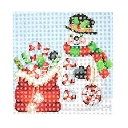 Snowman Square - Santa Bag with Candy Canes Painted Canvas Burnett & Bradley