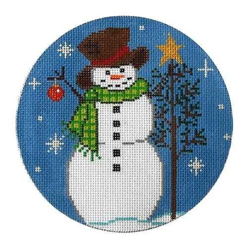 Snowman with a Tree and Ornament Painted Canvas The Meredith Collection