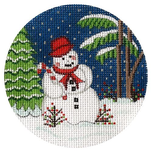 Snowman with Candy Cane Ornament Painted Canvas Alexa Needlepoint Designs