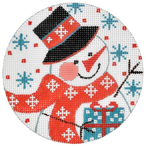 Snowman with Present Ornament Painted Canvas Danji Designs
