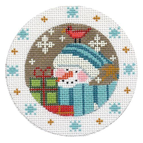Snowman with Present & Snowflakes Ornament Painted Canvas Danji Designs