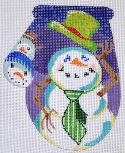 Snowman with Top Hat Mitten Painted Canvas Julie Mar Needlepoint Designs