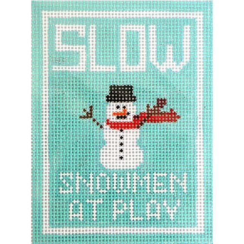 Snowmen at Play Ornament Painted Canvas Kimberly Ann Needlepoint