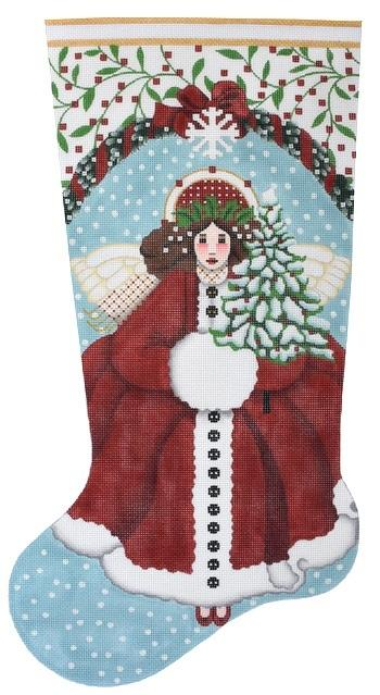 Snowy Red Angel Stocking Painted Canvas Melissa Shirley Designs