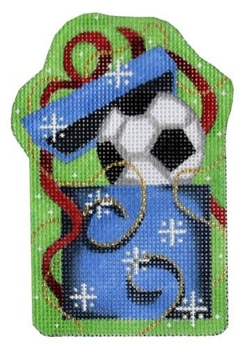 Soccer Ball in Present Ornament Painted Canvas Associated Talents