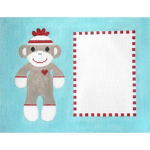 Sock Monkey Original Frame Painted Canvas J. Malahy Designs