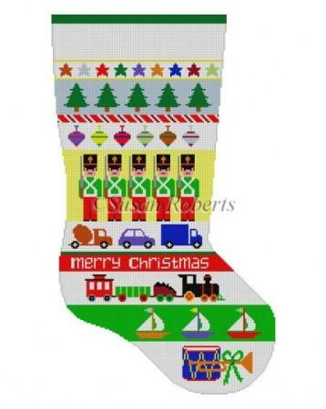 Soldier Stripe Stocking Painted Canvas Susan Roberts Needlepoint Designs, Inc.