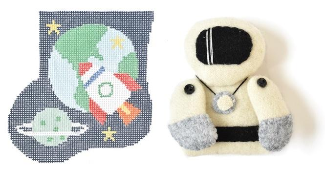 Spaceship Mini-Sock with Astronaut Insert Painted Canvas Kathy Schenkel Designs