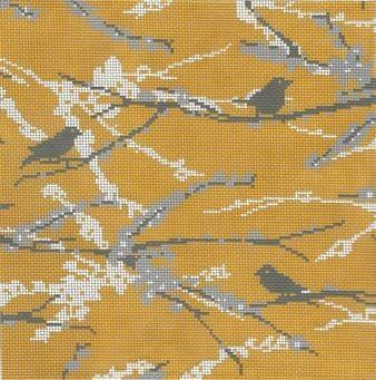 Sparrows - Vintage Yellow Painted Canvas Cooper Oaks Design