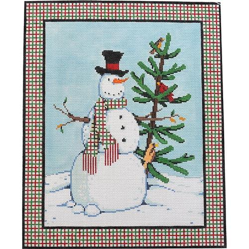 Spiffy the Snowman Painted Canvas Fleur de Paris
