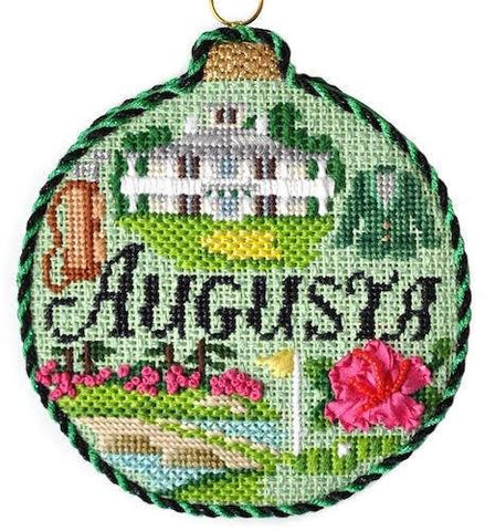 Sporting Round - Augusta with Stitch Guide Painted Canvas Needlepoint.Com