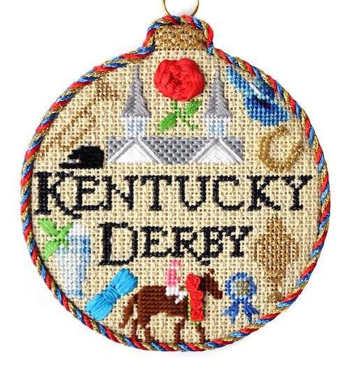 Sporting Round - Kentucky Derby with Stitch Guide Painted Canvas Needlepoint.Com