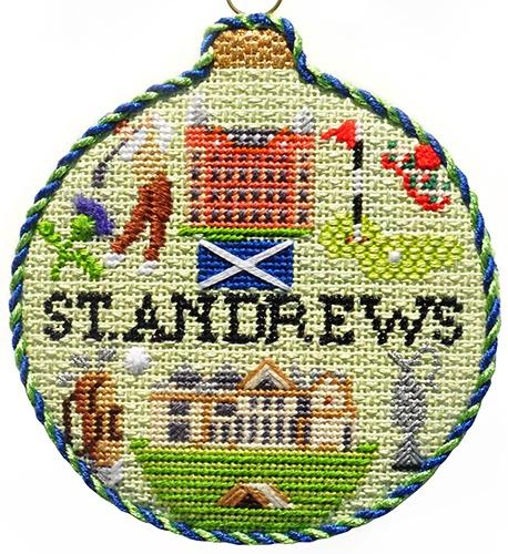 Sporting Round - St. Andrews with Stitch Guide Painted Canvas Needlepoint.Com