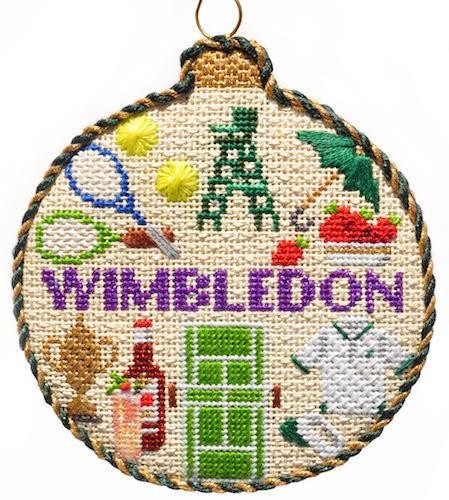Sporting Round - Wimbledon with Stitch Guide Painted Canvas Needlepoint.Com