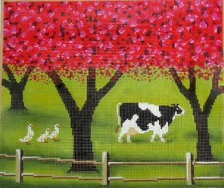 Spring Cow Painted Canvas Cooper Oaks Design