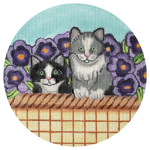 Spring Kitten Basket Painted Canvas Nenah Stone Designs