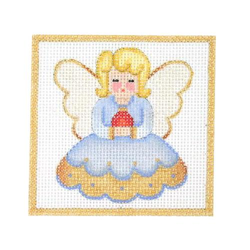 Square Ornament - Angel Painted Canvas Burnett & Bradley