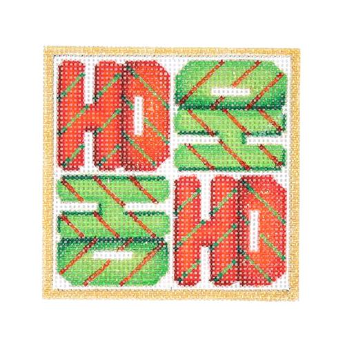 Square Ornament - HO HO HO HO Painted Canvas Burnett & Bradley