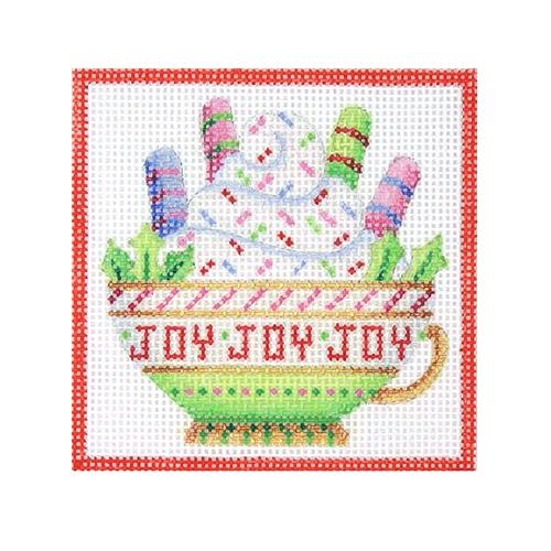 Square Ornament - Joy Teacup Painted Canvas Burnett & Bradley