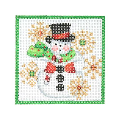 Square Ornament - Snowman & Snowflakes Painted Canvas Burnett & Bradley