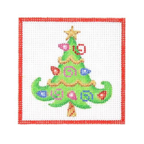 Square Ornament - Tree with Christmas Lights Painted Canvas Burnett & Bradley