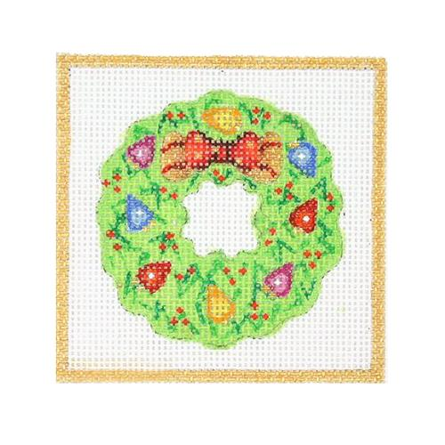 Square Ornament - Wreath with Christmas Lights & Bow Painted Canvas Burnett & Bradley